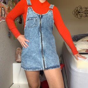 🌸Super cute denim overall zip-up dress